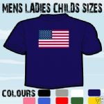AMERICAN USA FLAG EMBLEM T-SHIRT ALL SIZES & COLOURS